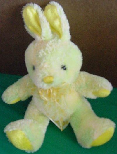 "Yellow & Multi Tie Dye Bunny Rabbit Stuffed Plush 6"""