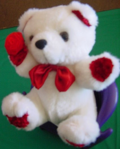 "Calplush White & Red Bear with Flower Stuffed Plush 6"""