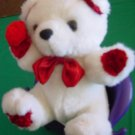 Calplush White & Red Bear with Flower Stuffed Plush 6""