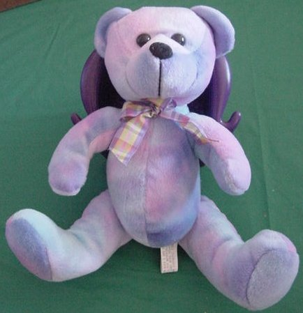 "Circus Circus Casino Blue Tie Dye Bear Stuffed Plush 8"""