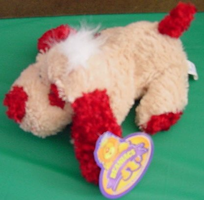 King Plush Beaniacs Beige & Red Dog Puppy Beanie Plush