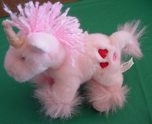 "Russ Starlit Pink Unicorn Beanie Stuffed Plush 7"" Heart"