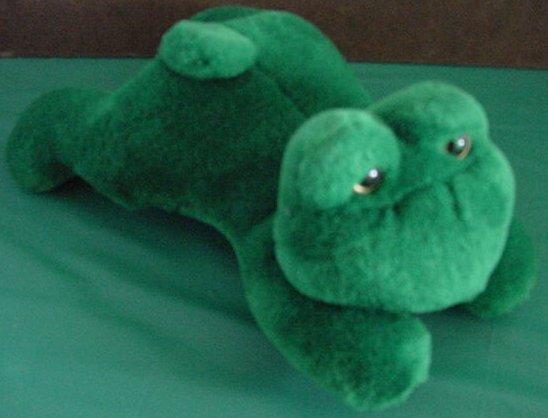 Circus Circus Green Frog Laying Down Stuffed Plush