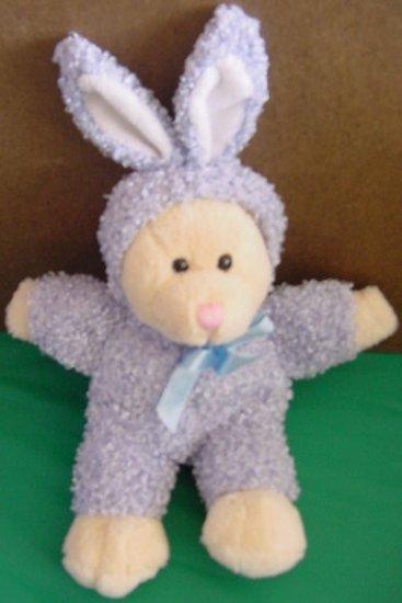 """DanDee Beige Bear in Purple Bunny Suit Stuffed Plush 9"""""""