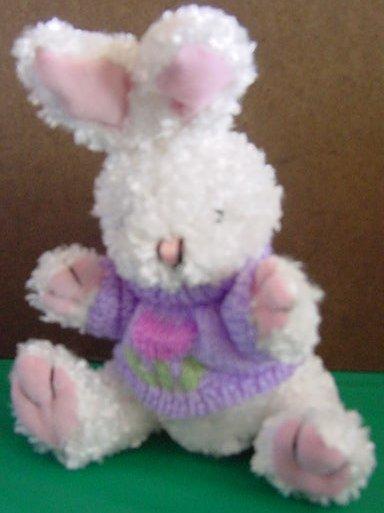DanDee White Bunny Purple Tulip Sweater Stuffed Plush