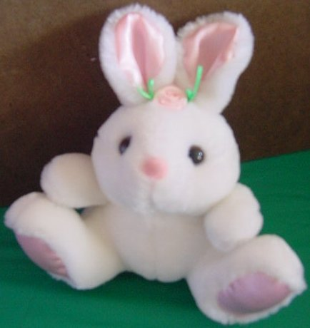 Ebee Services White Bunny Rabbit Flower Stuffed Plush
