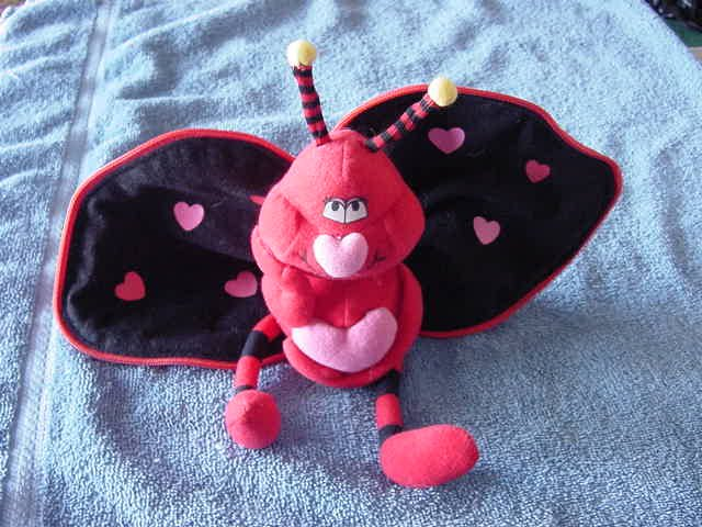 Valentine's Love Bug with Heart Zipper Stuffed Plush 5""