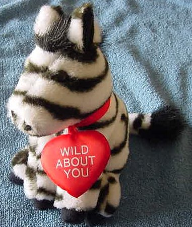 Wild About You Zebra Valentine's Stuffed Plush 7""