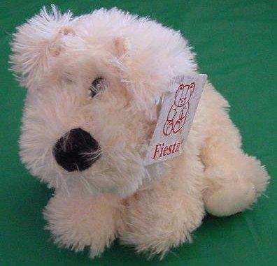 """Fiesta Cream Sitting Dog Puppy Stuffed Plush 7.5"""" Tag"""