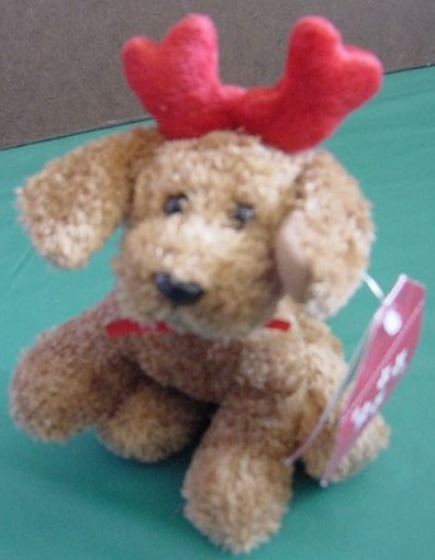 Galerie Brown Reindeer Dog Puppy Beanie Plush Tag Christmas