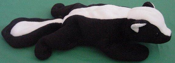"Black & White Laying Down Skunk Beanie Plush 8"""