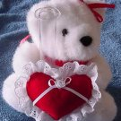 Joelson White Bear & Heart Bud Vase Stuffed Plush 6""