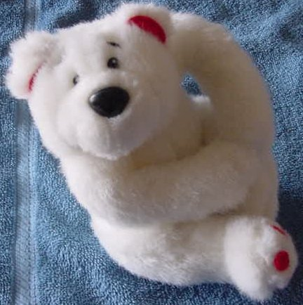 John Henry White Bear with Heart feet Stuffed Plush 6""