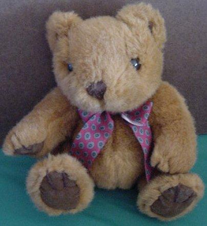 "Kellytoy Brown Bear Sitting Red Bow Stuffed Plush 7"""