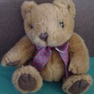 Kellytoy Brown Bear Sitting Red Bow Stuffed Plush 7""
