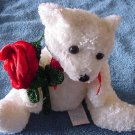 Kids of America White Bear & Rose Stuffed Plush 6""