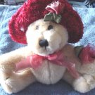 "Light Brown Bear Roses & Hat Stuffed Plush 6.5"" Cute"