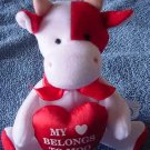 "My Heart Belongs to Moo Cow Mini Beanie Plush 5"" JE Co."