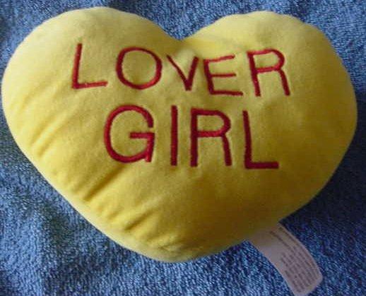 "Lover Girl Sweetheart Pillow Yellow Stuffed Plush 7"""