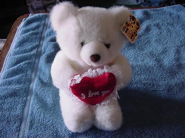 "Unipak White I Love You Heart Bear Stuffed Plush 7"""