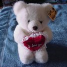 Unipak White I Love You Heart Bear Stuffed Plush 7""