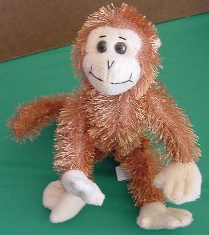 "BJ Toy Company Wire Monkey Brown Stuffed Plush 7"" Bendy"