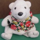 "Coca Cola Polar White Bear in Vest Beanie Plush 5"" 1998"