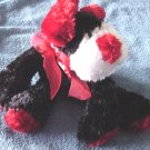 "Dan Dee Black Red White Dog Beanie Plush 6"" Floppy"