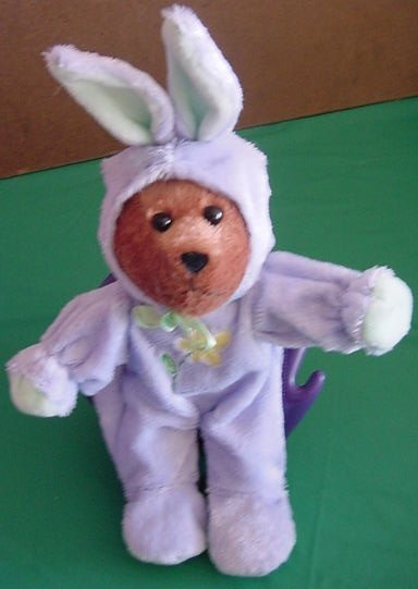"Galerie Bear in Purple Bunny Sleeper Stuffed Plush 10"""