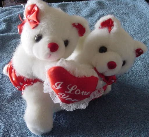 "Hugging White Bears I Love You Heart Stuffed Plush 6"""