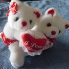 Hugging White Bears I Love You Heart Stuffed Plush 6""