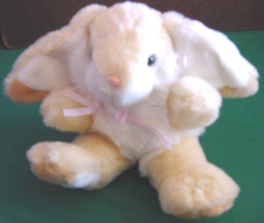 "MTY Int Beige & White Bunny Rabbit Stuffed Plush 7"""