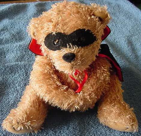 "AGC Inc Masked Brown Bear Casanova Stuffed Plush 6"""