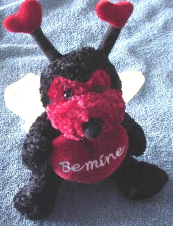 "Atico Be Mine Love Bug Valentine Stuffed Plush 5"""