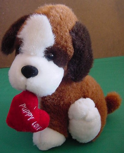 "Puppy Love Heart Hound Dog Stuffed Plush 8"""