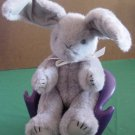 "Gray Jointed Bunny Rabbit Long Ears Stuffed Plush 8"""