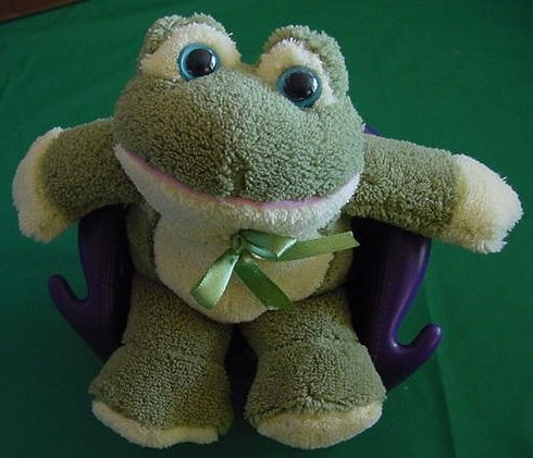 Atico Blue Eyed Green & Yellow Frog or Toad Stuffed Plush 5""
