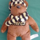 "Hertz Rental Cars Brown Bear Beanie Plush 8"" Scarf Hat"