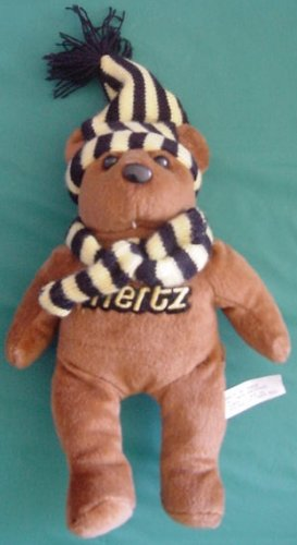 "Hertz Rental Cars Brown Bear Beanie Plush 8"" Scarf Hat"