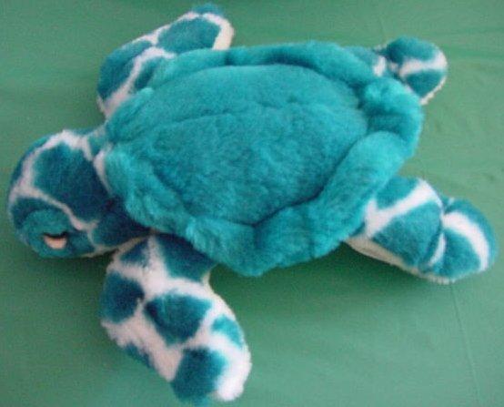 """Aqua Greenish Blue & White Sea Turtle Stuffed Plush 8"""""""