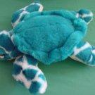 Aqua Greenish Blue & White Sea Turtle Stuffed Plush 8""