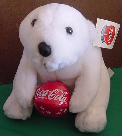"Coca Cola Polar Bear Red Ball 1998 Stuffed Plush 8.5"""