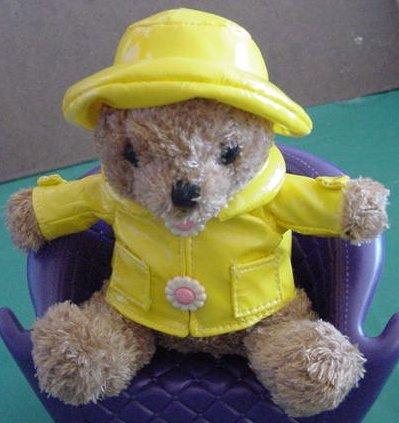 "Galerie Yellow Raincoat Hat Mini Bear Stuffed Plush 5"""