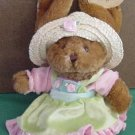 "Plushland Brown Bunny Straw Hat Beanie Plush 8"" Tag March of Dimes"
