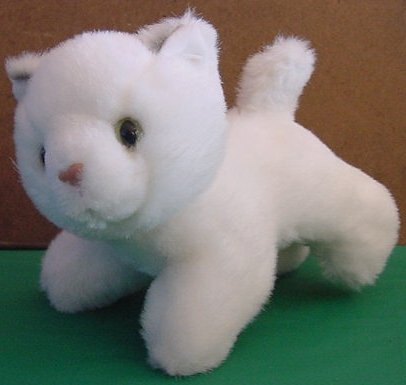 "Fiesta Cute Kitty Cat White Stuffed Plush 5.5"" Gray"