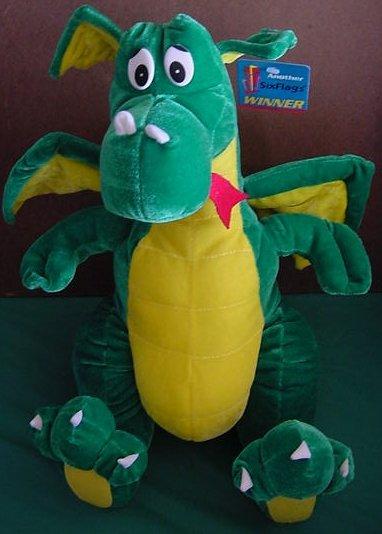 "Six Flags Green Winged Dragon Stuffed Plush 13"" Tag"