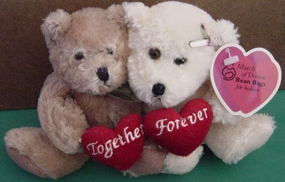 """Plushland MOD Together Forever Bears Beanie Plush 8"""" March of Dimes"""