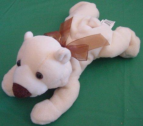 "Kellytoy Cream Laying Down Bear Beanie Stuffed Plush 9"""