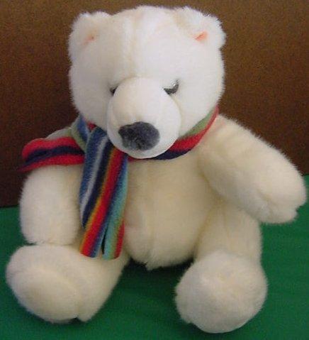 "Russ Berrie McKinley Polar Bear Scarf Stuffed Plush 7"""