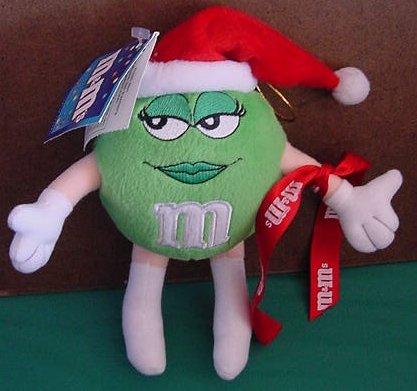 "M&M's Green Miss Sassy Santa Girl Stuffed Plush 8"" Tag"